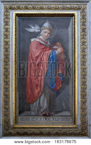 ROME, ITALY - SEPTEMBER 01: Saint Gregory the Great painting in Santa Maria in Aquiro church in Rome, Italy  on September 01, 2016.
