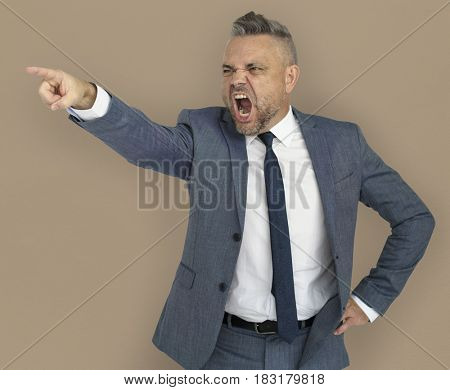 Caucasian Business Man Pointing Angry