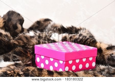 Pink Polka Dot Gift Boxe On Fur Coat Background