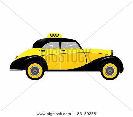 retro car taxi isolated on white background. Vector illustration. Eps 10