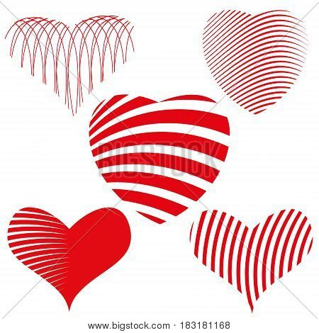 Vector hearts set. five styles and patterns