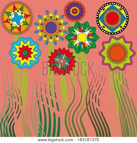 pattern background flowers and grass circles ethnic