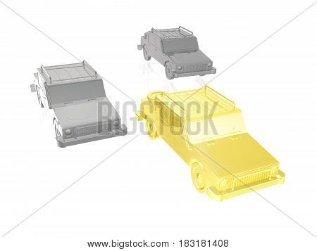 Yellow and grey cars on white reflective background 3D illustration.