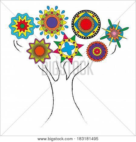 рисунок дерево контур с кругами кроной в этническом стиле