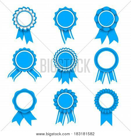 Set of 9 blue and white award medals with ribbons isolated on white background