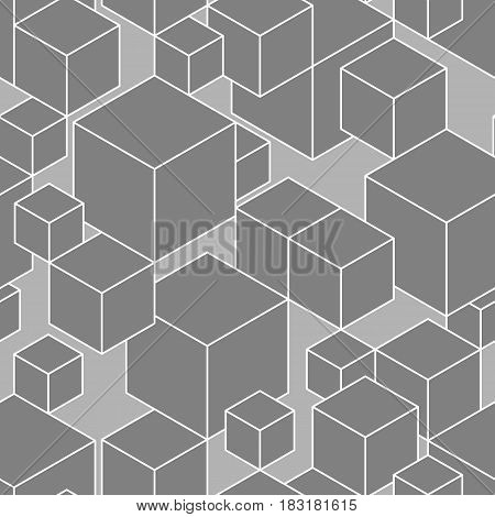 Black and white geometric seamless pattern made of lined cubes