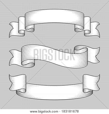 Collection of three white vintage ribbon banners