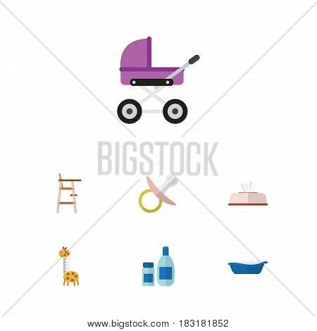 Flat Infant Set Of Child Chair, Cream With Lotion, Stroller And Other Vector Objects. Also Includes Giraffe, Stroller, Bathing Elements.