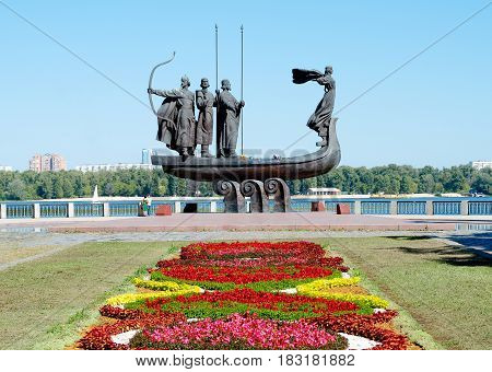 Monument to the mythical founders of Kiev on the Dnieper river. Ukraine
