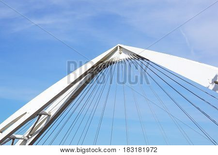 Cables and tower of the suspension bridge