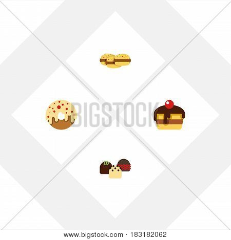 Flat Cake Set Of Doughnut, Cake, Dessert And Other Vector Objects. Also Includes Dessert, Pastry, Doughnut Elements.