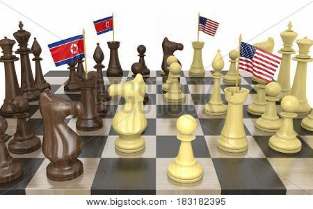 North Korea and United States foreign policy strategy and power struggle, 3D rendering