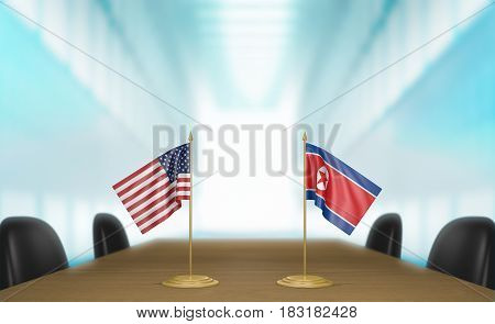 United States and North Korea relations and diplomatic talks, 3D rendering