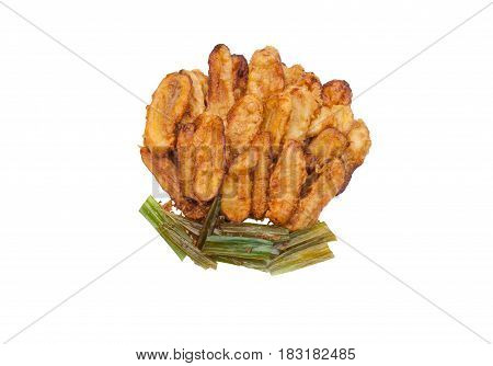 Group Of Fried Bananas And Pandan Leaves, Isolated