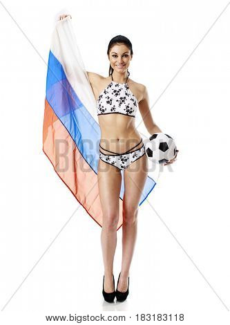 Young girl with a Russian flag