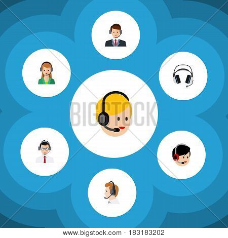 Flat Call Set Of Help, Operator, Hotline And Other Vector Objects. Also Includes Service, Secretary, Operator Elements.