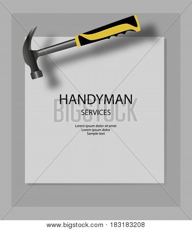 Handyman services vector design with hammer. Home house repair. Vector illustration.