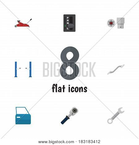 Flat Workshop Set Of Turnscrew, Automatic Transmission, Coupler And Other Vector Objects. Also Includes Screwdriver, Key, Part Elements.