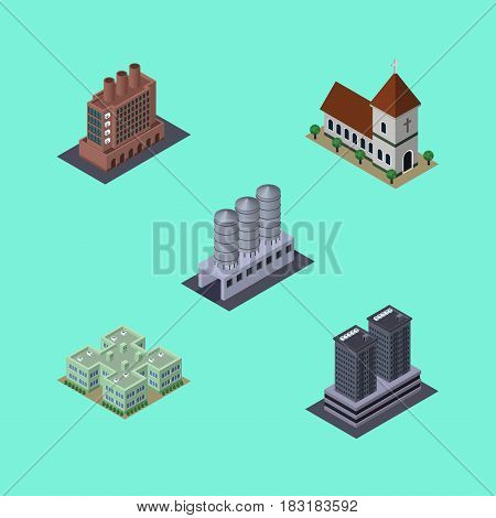 Isometric Construction Set Of Clinic, Industry, Water Storage And Other Vector Objects. Also Includes Industry, Firm, Church Elements.