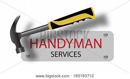 Professional handyman services logo. Hammer. A sign nailed. Repair tool. Vector illustration