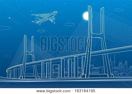Large cable-stayed bridge, night modern city on background, airplane fly, vector design art