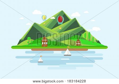Summer mountains landscape. Green hills, blue sky, white clouds, green trees, mountain shelters, sailboats, balloons, flat design stock vector illustration
