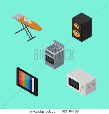 Isometric Device Set Of Stove, Television, Music Box And Other Vector Objects. Also Includes Tv, Device, Stove Elements.