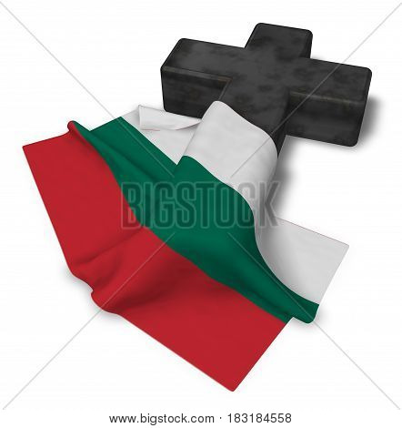 christian cross and flag of bulgaria - 3d rendering