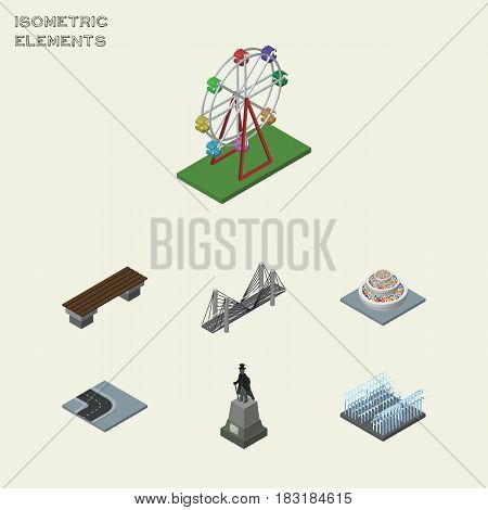 Isometric City Set Of Bench, Recreation, Bridge And Other Vector Objects. Also Includes Bridge, Monument, Road Elements.