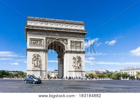 PARIS, FRANCE - August 28, 2016 : Arc de triomphe in Paris, one of the most famous monuments. August 28, 2016, Paris, France.