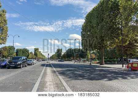 PARIS, FRANCE - June 26,2016 : beautiful Street view of  Buildings around Paris city. Paris is the capital and most populous city of France. June 26,2016, Paris, France.
