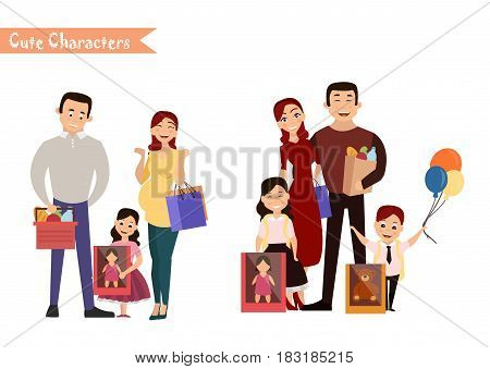 Set of characters and people shopping. Vector illustration of a flat design. Happy family shopping