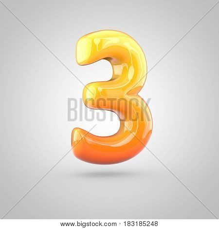 Glossy Orange And Yellow Gradient Paint Alphabet Number 3 Isolated On White Background
