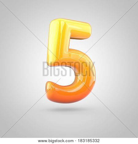 Glossy Orange And Yellow Gradient Paint Alphabet Number 5 Isolated On White Background