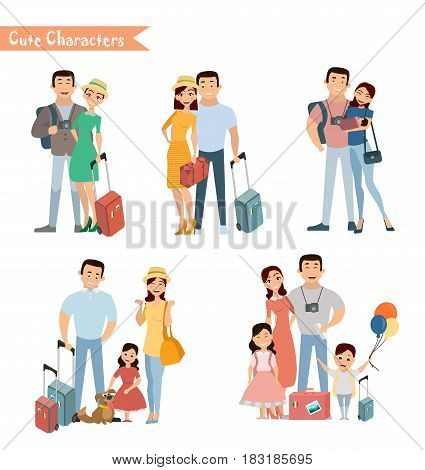 People and family traveling on vacation. Family travel. Father mother son and daughter at the airport. Vector illustration in a flat style