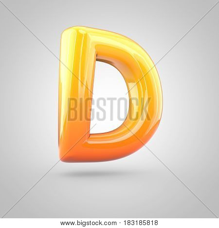 Glossy Orange And Yellow Gradient Paint Alphabet Letter D Uppercase Isolated On White Background