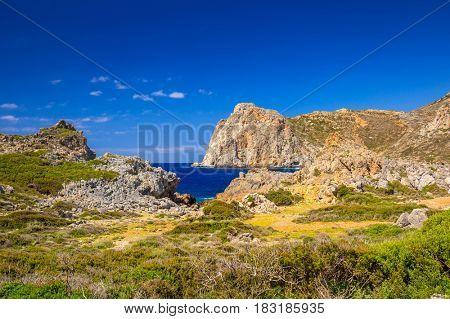 Coastline of Falassarna on Crete, Greece