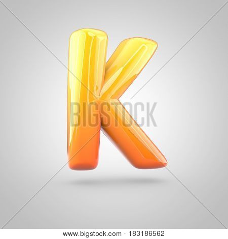 Glossy Orange And Yellow Gradient Paint Alphabet Letter K Uppercase Isolated On White Background