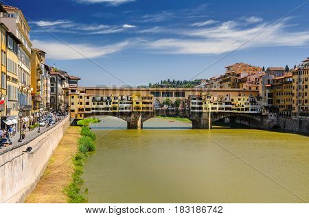 Florence Ponte Vecchio view at summer, Tuscany, Italy