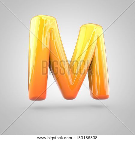 Glossy Orange And Yellow Gradient Paint Alphabet Letter M Uppercase Isolated On White Background