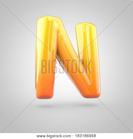 Glossy Orange And Yellow Gradient Paint Alphabet Letter N Uppercase Isolated On White Background