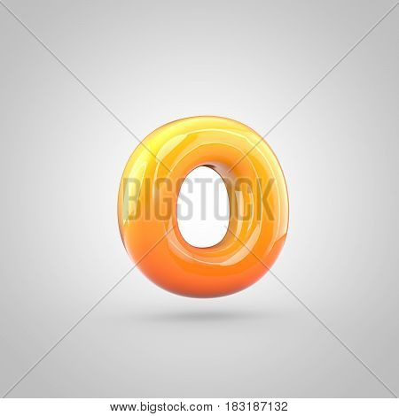 Glossy Orange And Yellow Gradient Paint Alphabet Letter O Lowercase Isolated On White Background