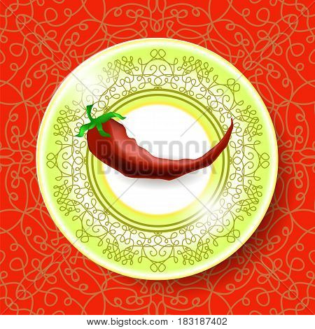 Hot Red Pepper on White Plate and Modern Ornamental Tablecloth
