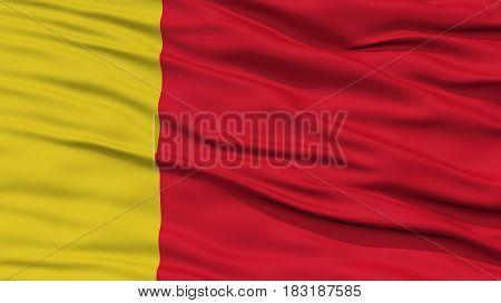 Closeup Moroni City Flag, Capital City of Comoros, Waving in the Wind