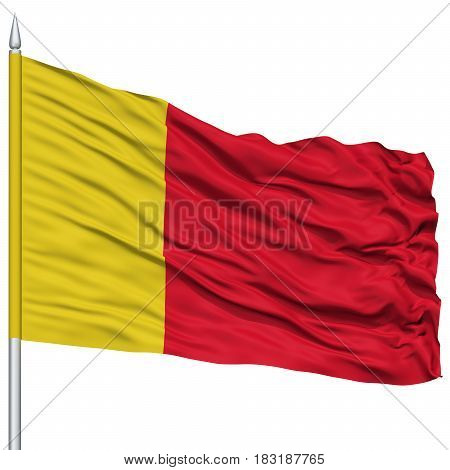 Moroni City Flag on Flagpole, Capital City of Comoros, Flying in the Wind, Isolated on White Background