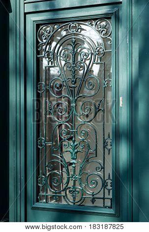 ornamental green door lattice background and texture