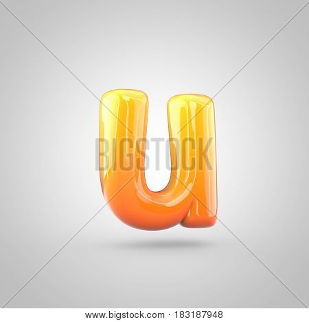 Glossy Orange And Yellow Gradient Paint Alphabet Letter U Lowercase Isolated On White Background