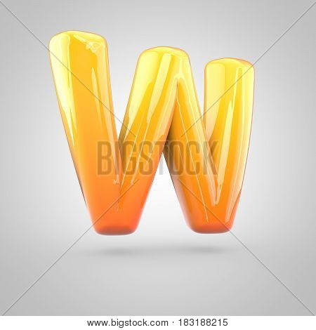 Glossy Orange And Yellow Gradient Paint Alphabet Letter W Uppercase Isolated On White Background