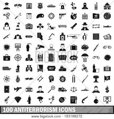 100 antiterrorism icons set in simple style for any design vector illustration