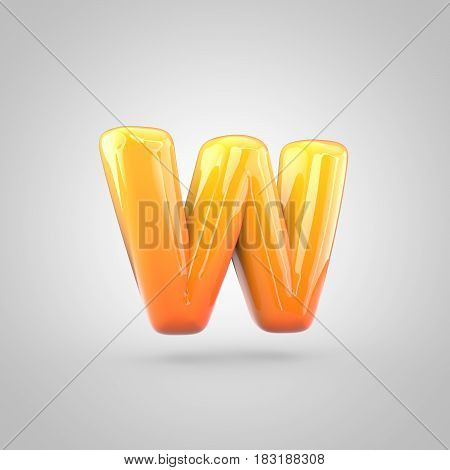 Glossy Orange And Yellow Gradient Paint Alphabet Letter W Lowercase Isolated On White Background